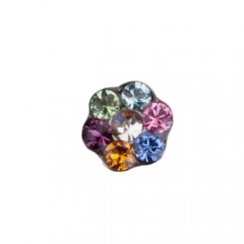 STUDEX   Серьги для прокола  Цветочек цветик - семицветик (PR-LD6213W-STX)